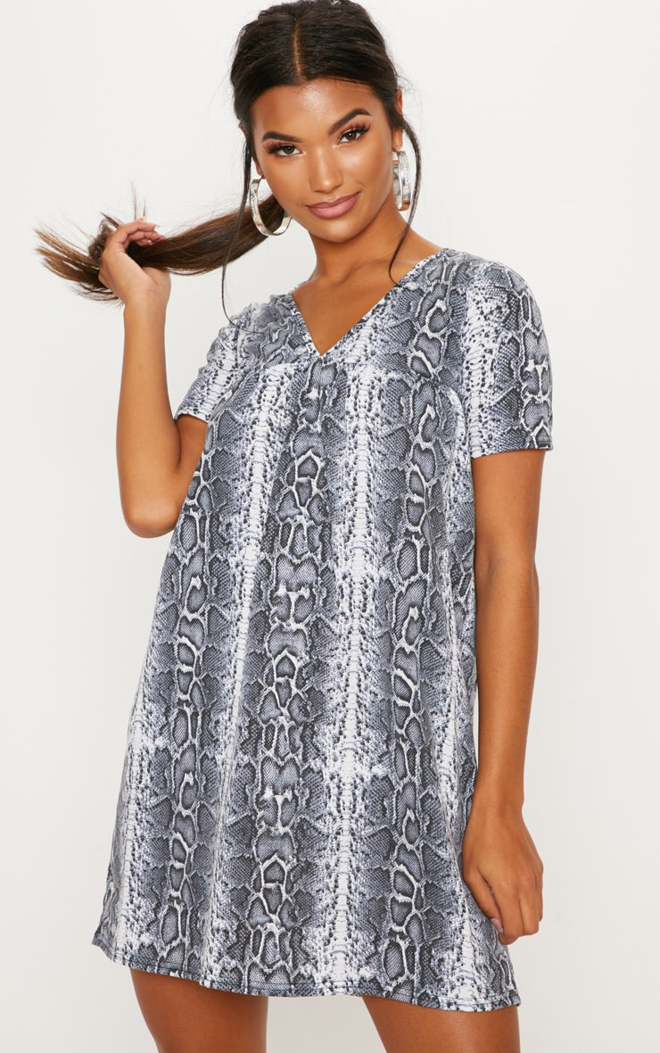 White Snake Print Short Sleeve Smock Dress 1