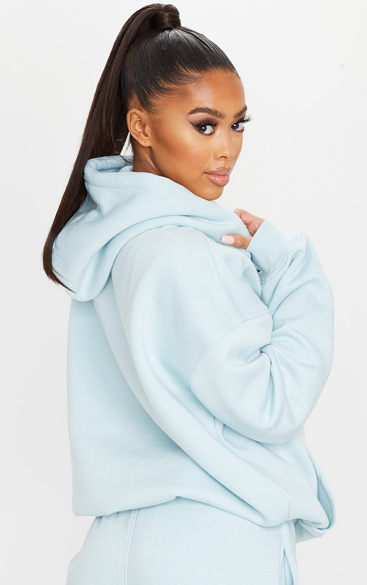 PRETTYLITTLETHING Light Blue Haze Oversized Slogan Print Pocket Front Hoodie 2