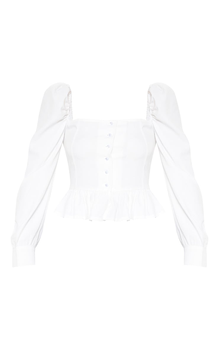 White Cropped Frill Hem Square Neck Puff Sleeve Blouse 3