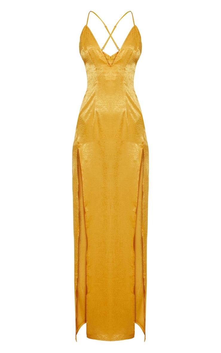 Gold Satin Slip Maxi Dress 3