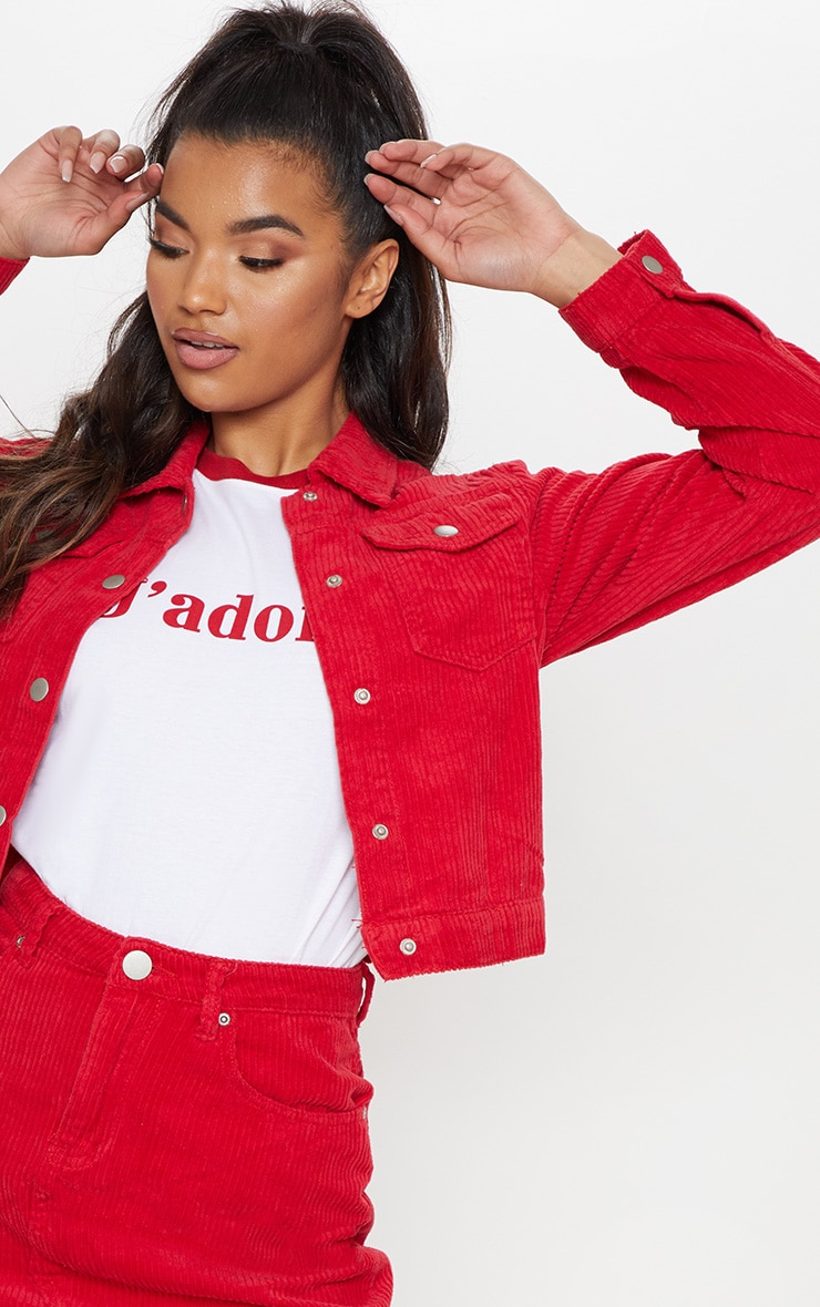 Red Jumbo Cord Cropped Jacket 5