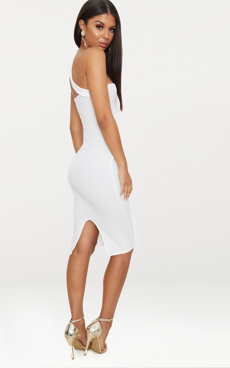 White Asymmetric Strap Midi Dress 2