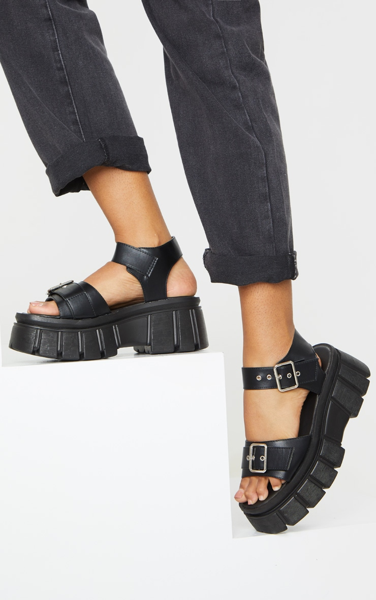Black Chunky Sole Buckle Detail Sandal 1