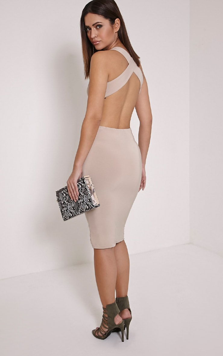Petite Biddy Nude Deep Plunge Midi Dress 4