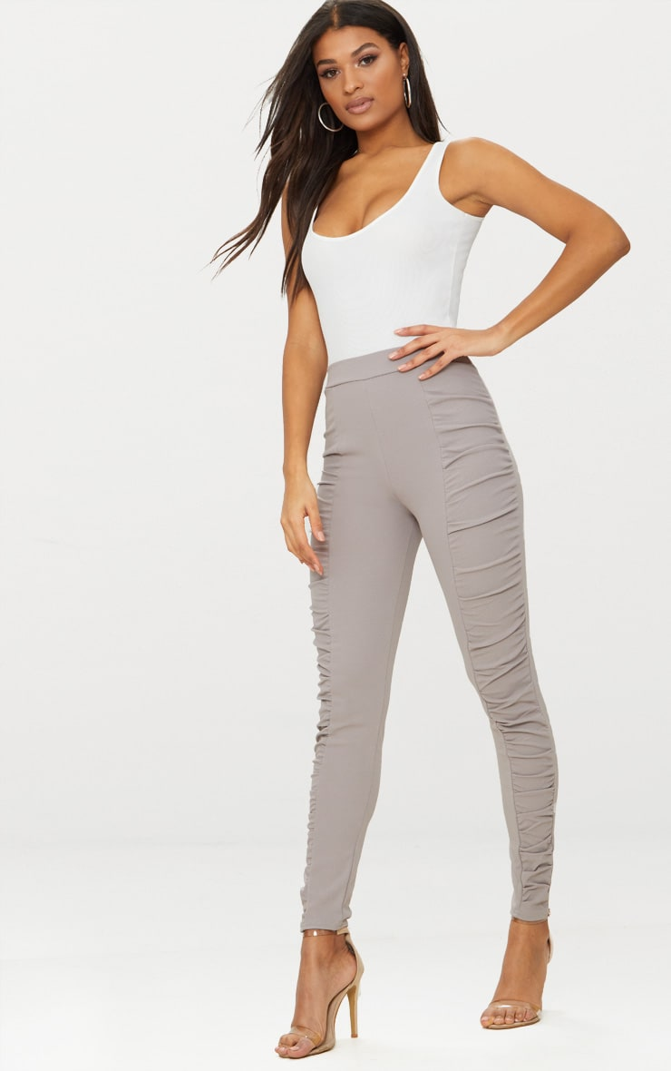 Grey Ruched Front Legging 1