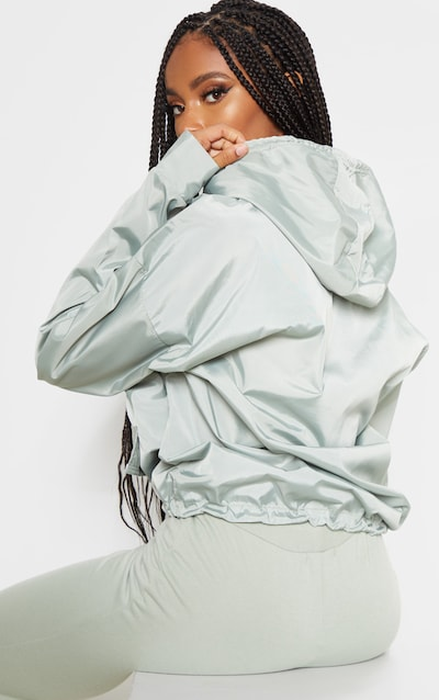 Sage Green Shell Zip Up Hoodie