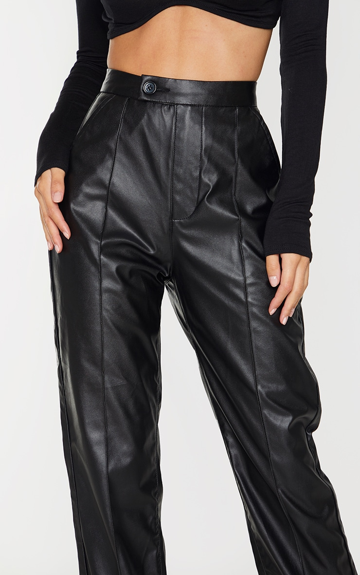 Black Faux Leather Pintuck Detail Straight Leg Trousers 4