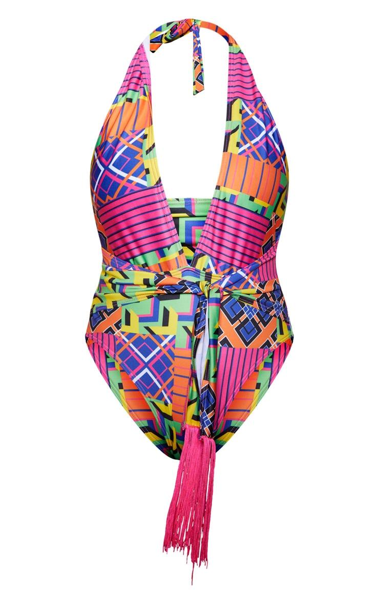 Multi Geo Belted Swimsuit  3