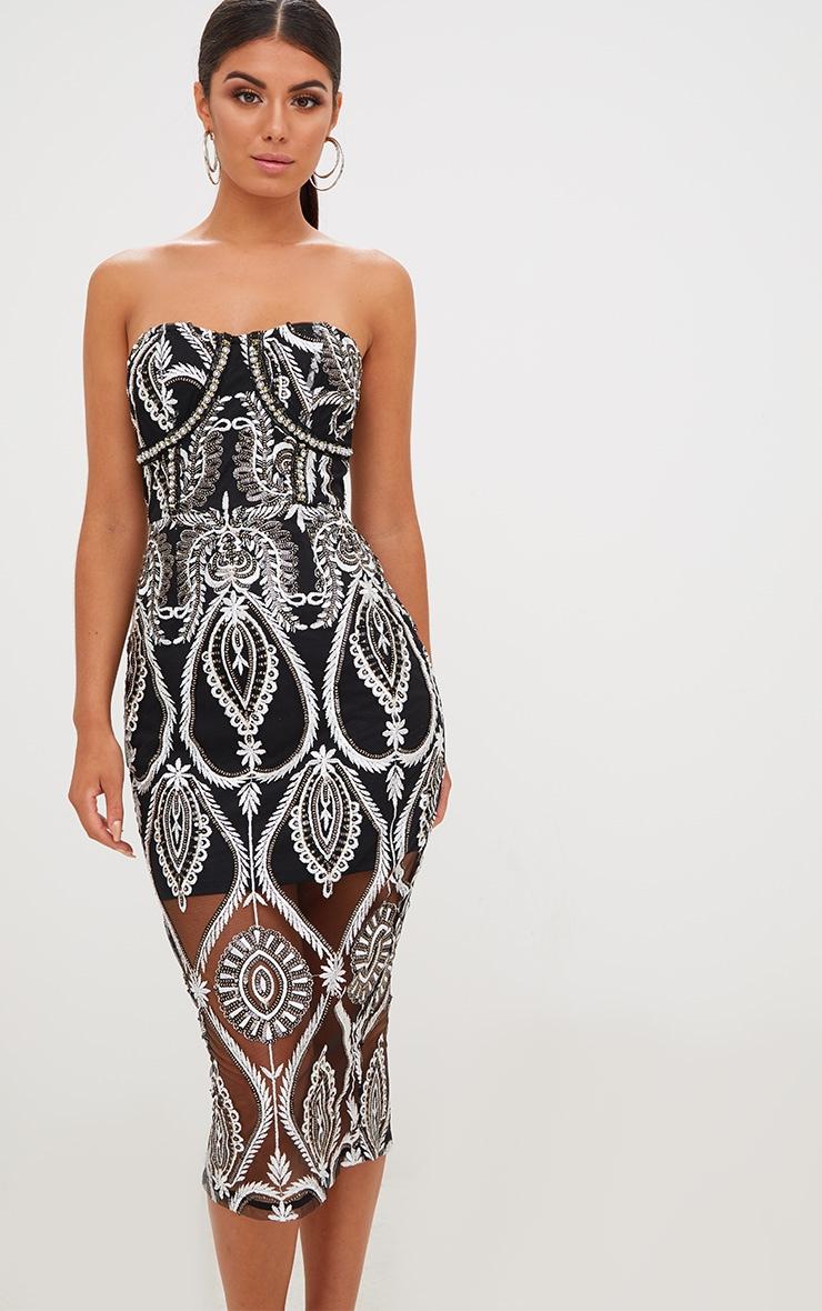 Premium Black Sequin Embroidered Bandeau Midi Dress 2