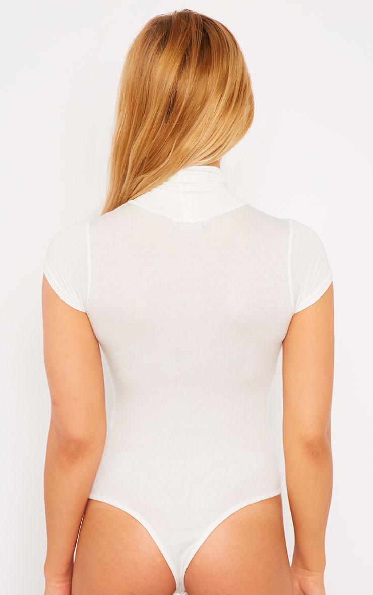 Basic Cream High Neck Bodysuit 2