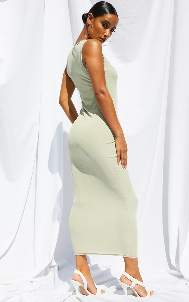 Sage Green Basic Rib Maxi Dress 2