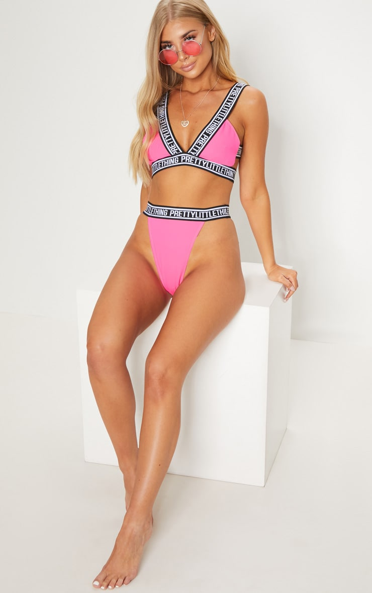 PRETTYLITTLETHING Bright Pink Caged Back Bikini Top 4