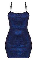 Blue Glitter Metallic Tie Back Bodycon Dress 1
