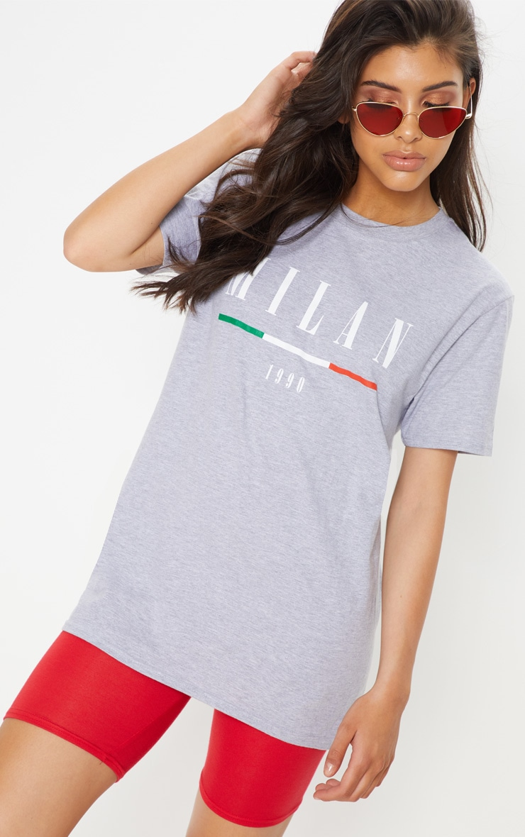 PRETTYLITTLETHING Milan Slogan Oversized T Shirt Free Shipping Sneakernews LbaNQyO2WF