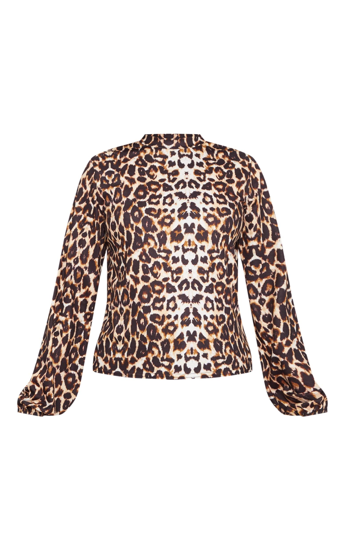 Petite Brown  High Neck Leopard Print Top 3