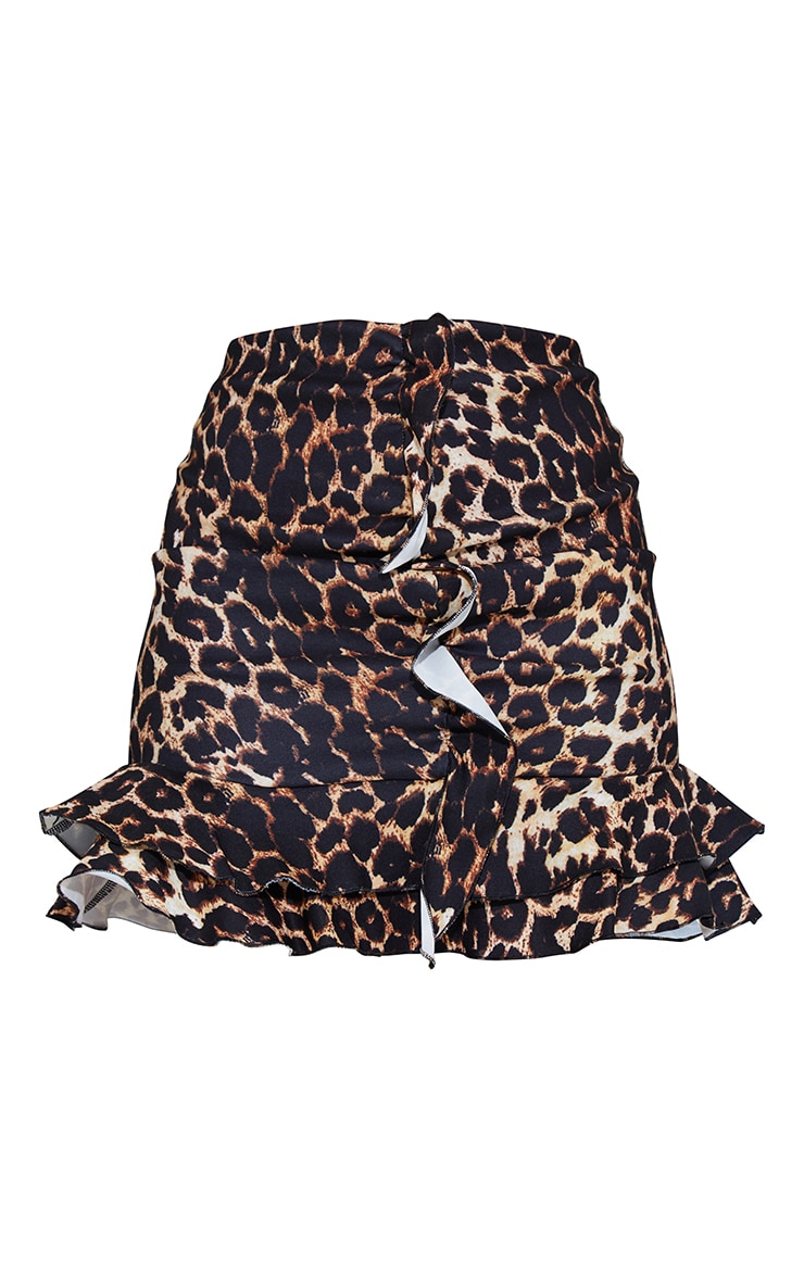 Brown Leopard Print Stretch Woven Frill Ruched Front Mini Skirt 6