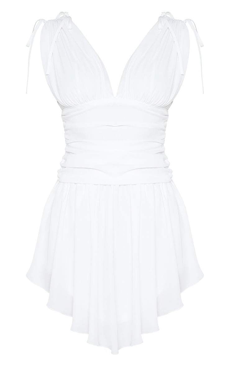 White  Plunge Ruched Waist Asymmetric Hem Shift Dress 3