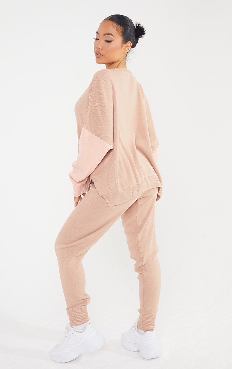 Petite Camel Color Block Knitted Loungewear Set 2