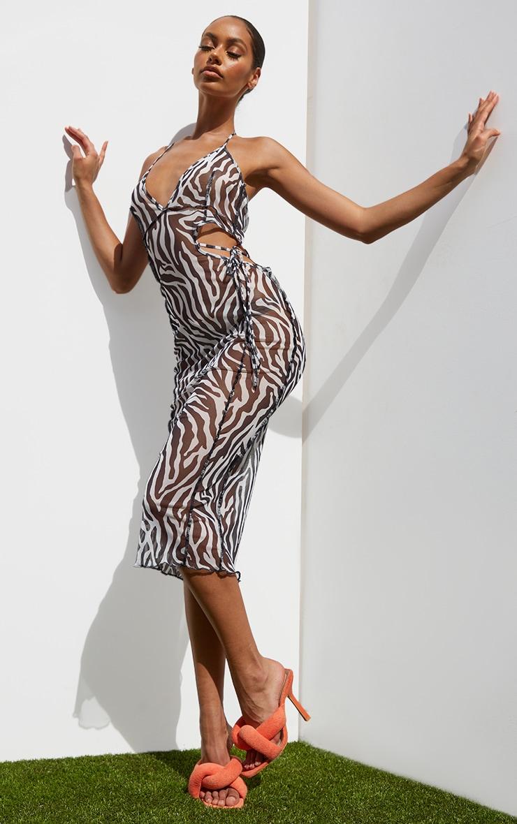 Black Zebra Print Strappy Cut Out Detail Overlock Seam Midi Dress