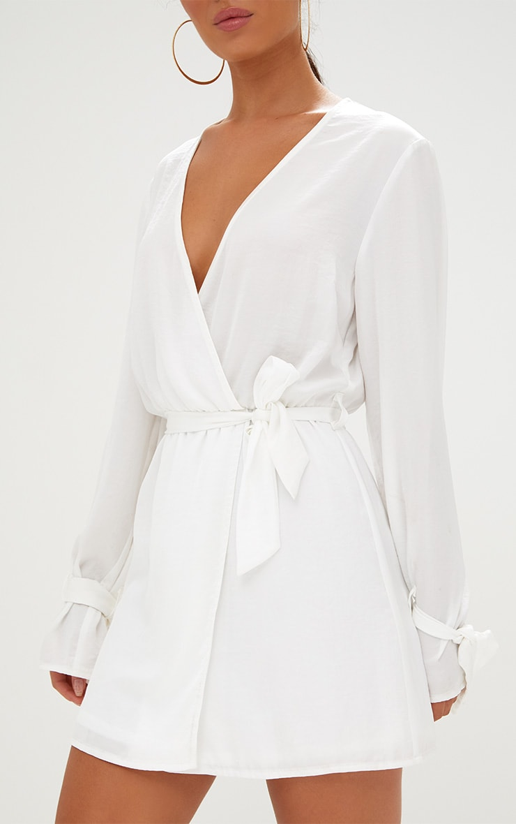 White Satin Wrap Cuff Detail Shift Dress 5