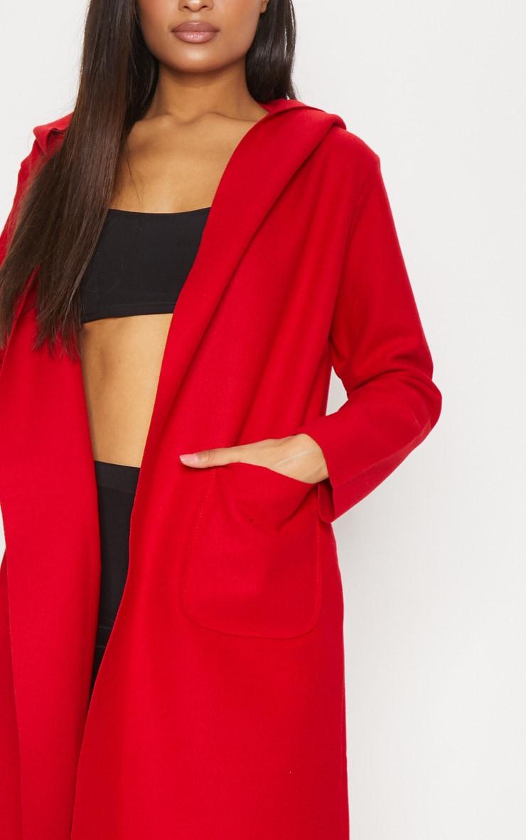 Red Hooded Oversized Coat 5