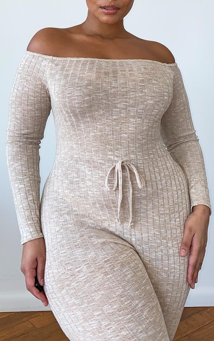 Plus Oatmeal Rib Knitted Bardot Jumpsuit 4