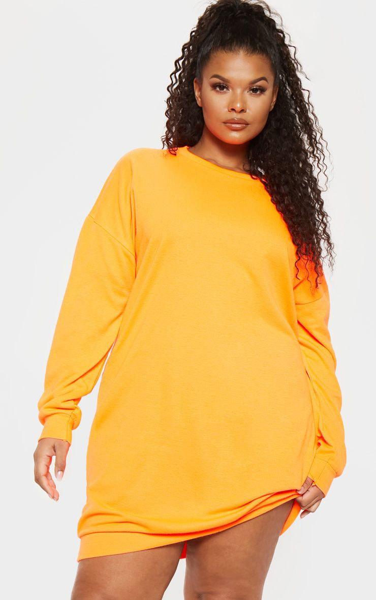 Plus Neon Orange Sweat Dress