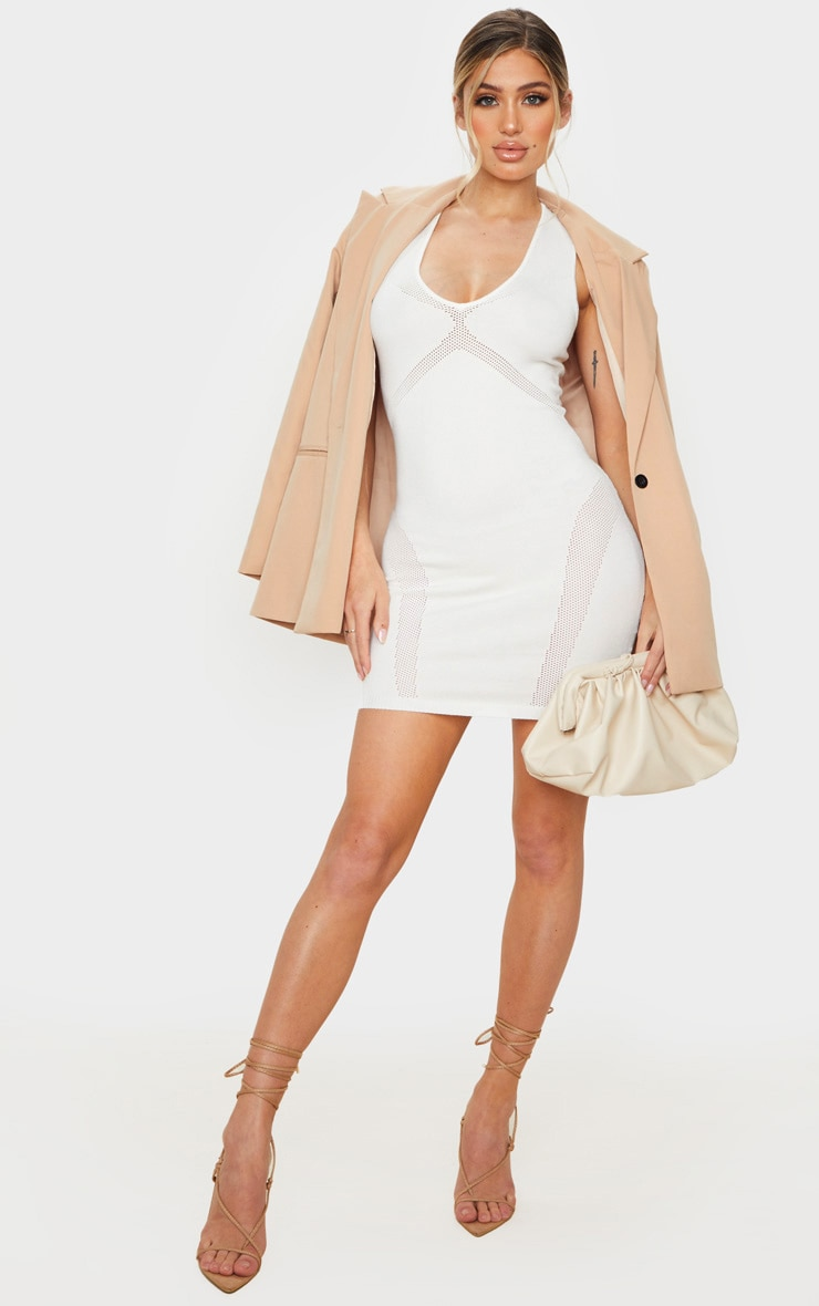 Cream Cut Out Detail Knitted Bodycon Mini Dress 3
