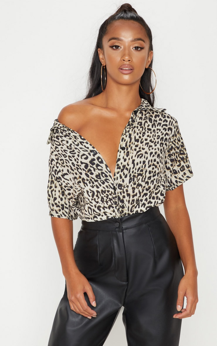 Petite Brown Leopard Print Cropped Shirt  1