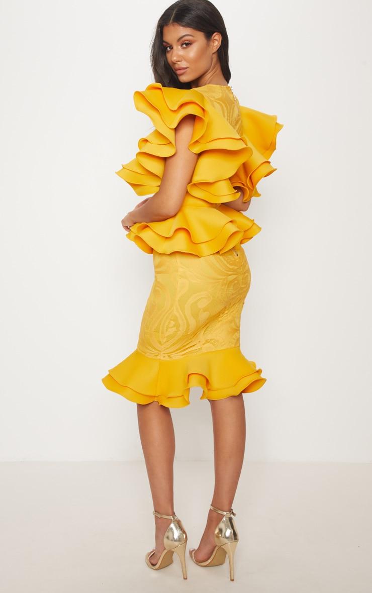 Mustard Ruffle Detail Plunge Midi Dress 2