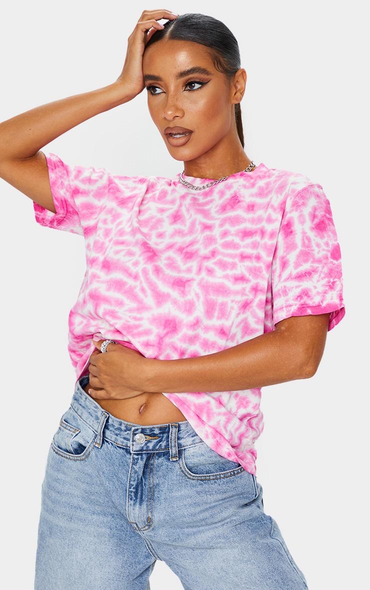Fuchsia Tie Dye Boyfriend Fit T Shirt 3