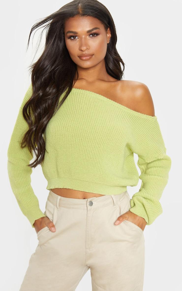 Lime Off The Shoulder Knitted Crop Jumper  1