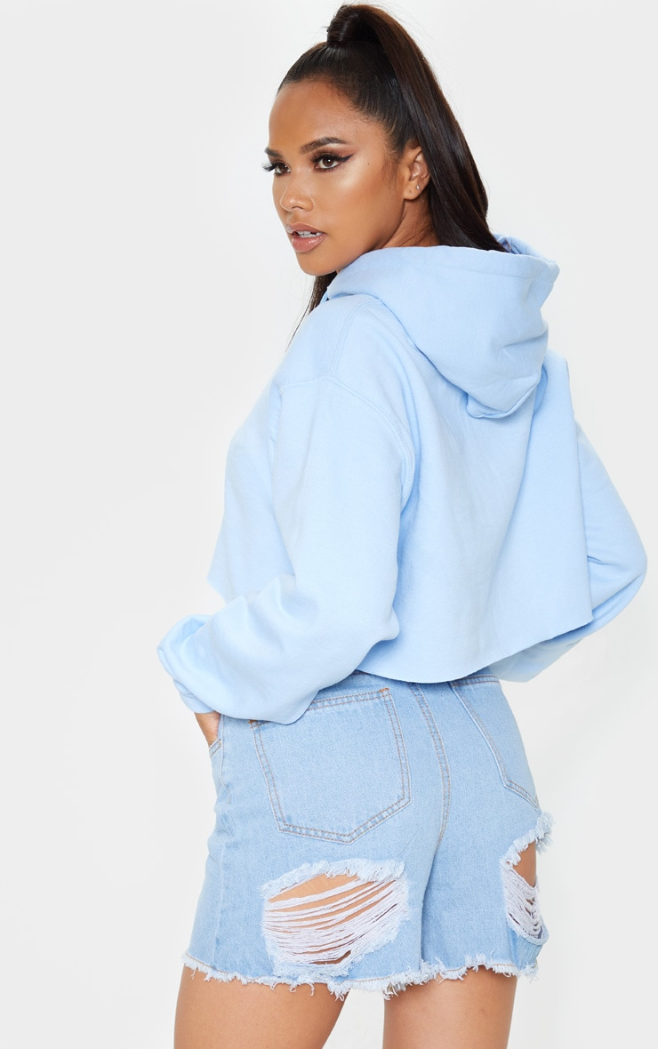 Baby Blue Ultimate Oversized Crop Hoodie  2