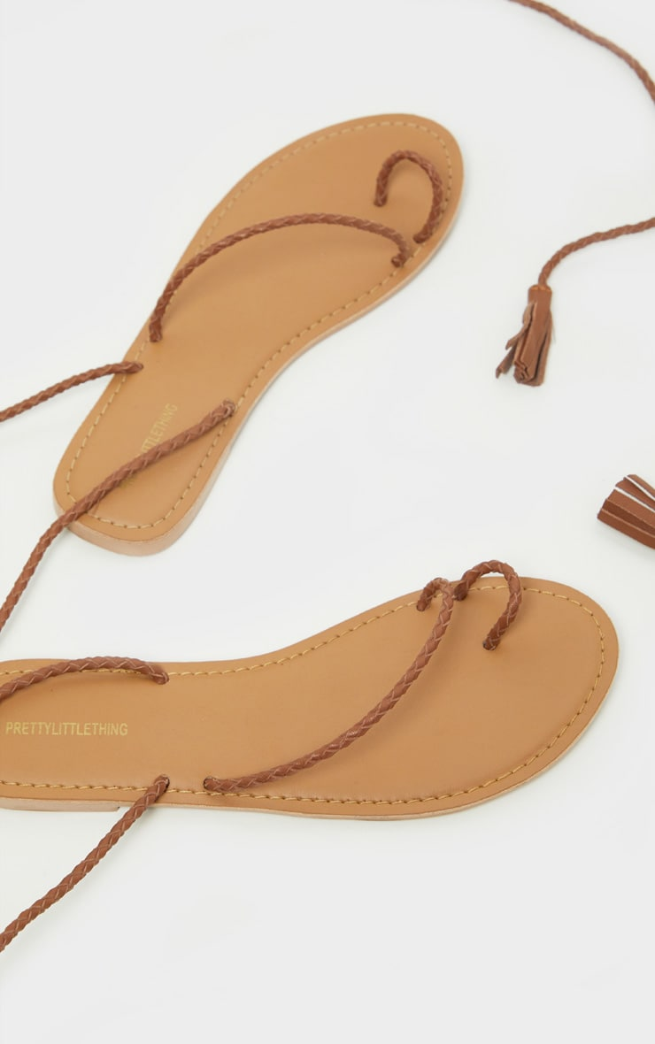 Tan Leather Plaited Rope Sandal 4