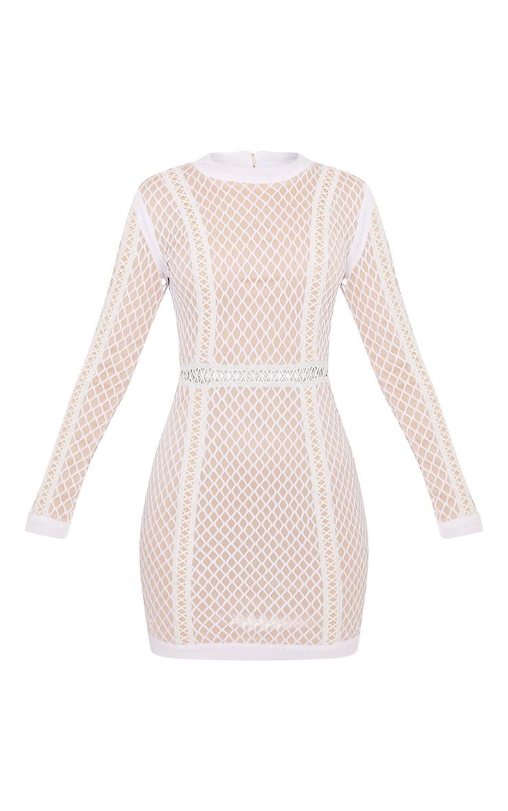 Thea White Fishnet Panel Bodycon Dress 3
