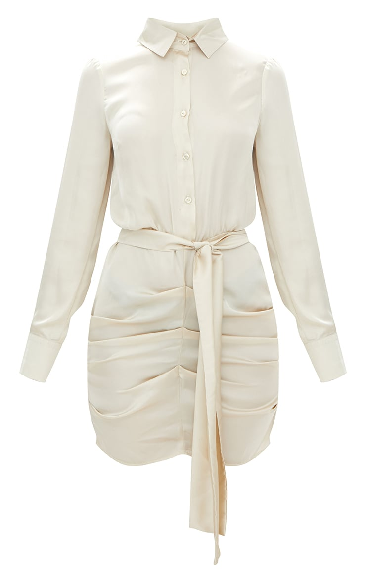 Champagne Satin Ruched Shirt Dress 3