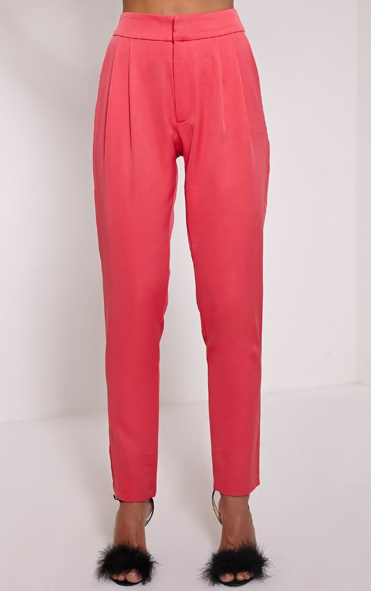 Floss Pink High Waisted Tapered Trousers 3