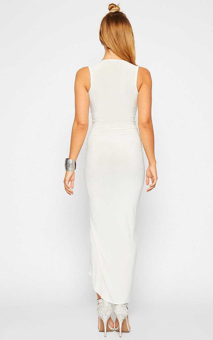 Meghan Cream Slinky Ruched Maxi Dress 2