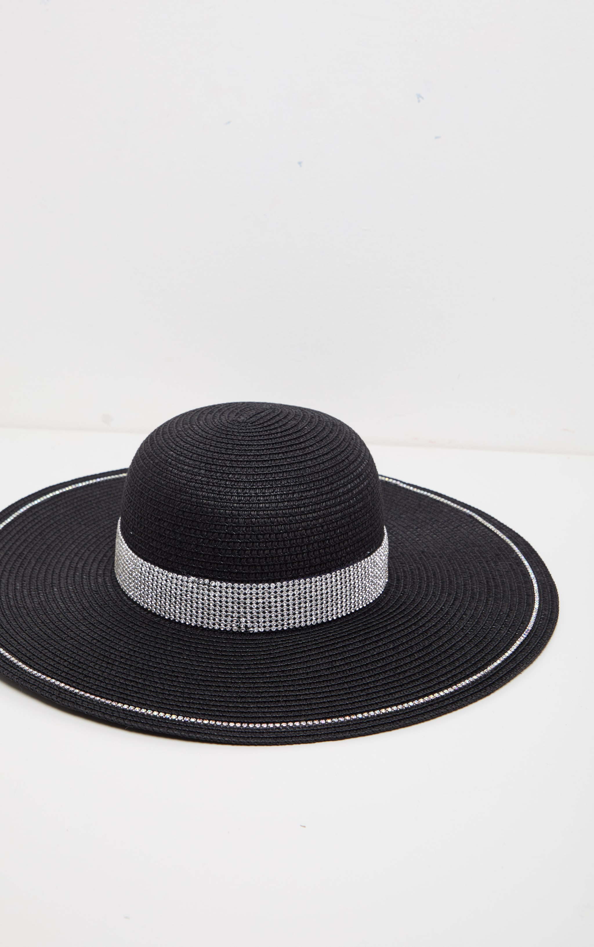 Black Straw Glitter Band Boater Hat 5