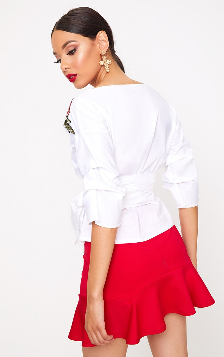 White Applique Ruched Frill Sleeve Shirt 2