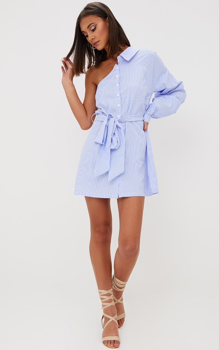 Blue Striped One Shoulder Shirt Dress 3