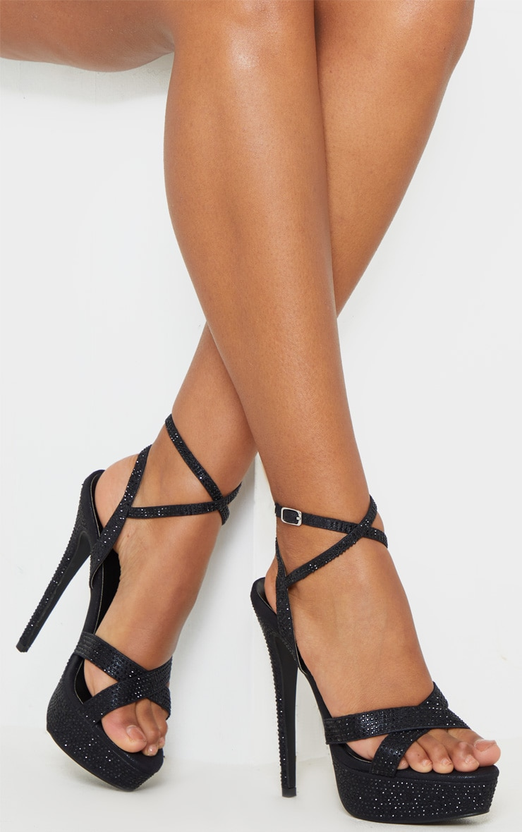Black Diamante Platform Sandal 1