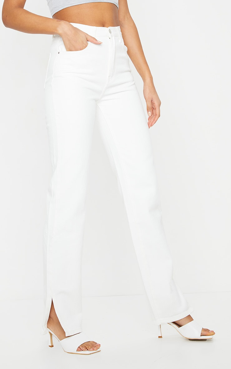 White Long Leg Split Hem Straight Jeans 2