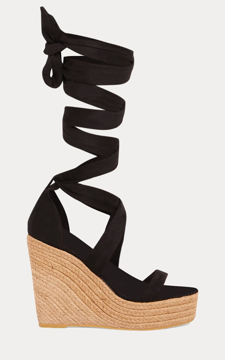 Black Leg Wrap Espadrille Wedge Sandal 3