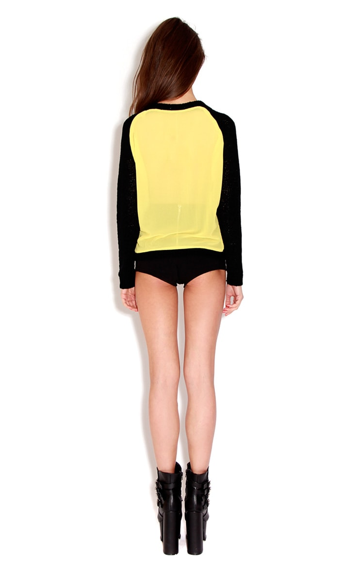Mona Black Knitted Jumper With Yellow Reverse 2
