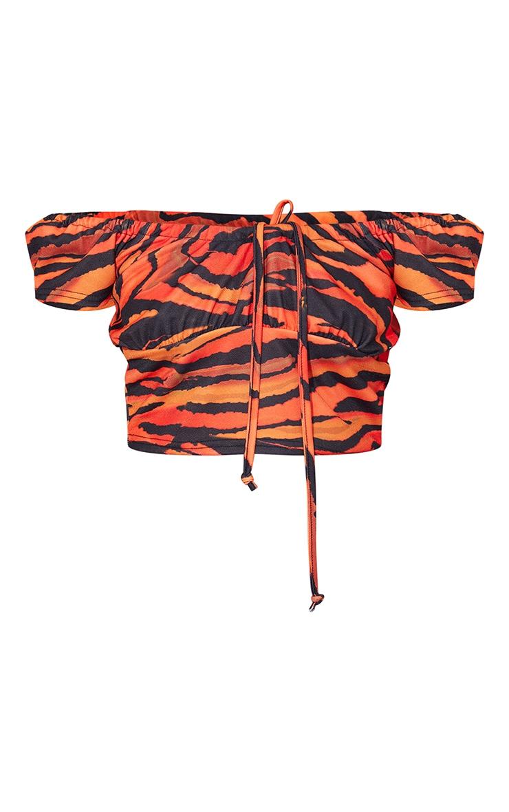 Orange Printed Frill Bardot Top 5