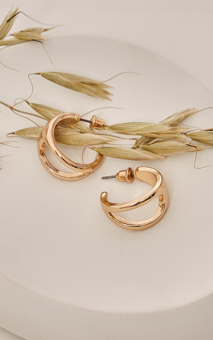 Gold Cut Out Mini Hoop Earrings 1