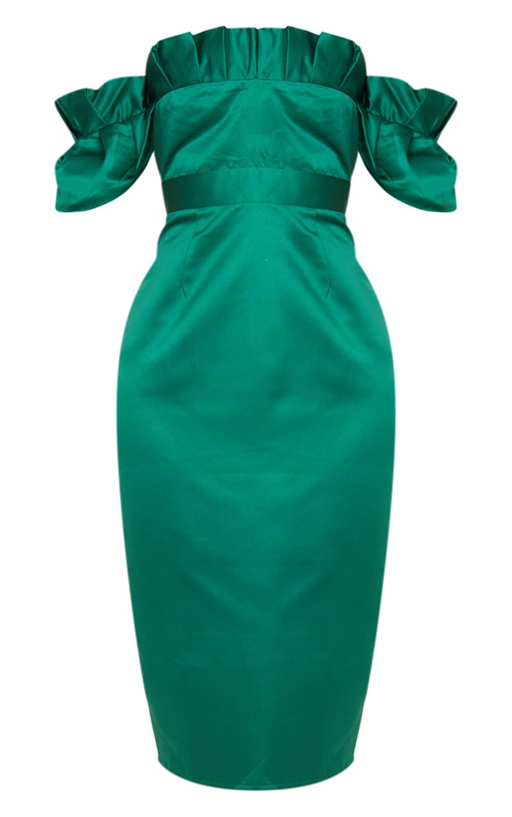 Emerald Green Bonded Satin Bardot Pleated Detail Midi Dress 3