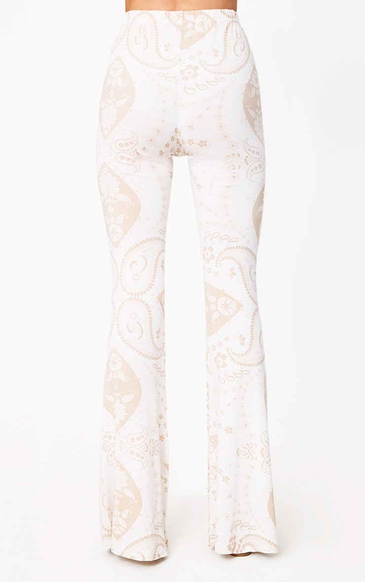 White Festival Print Jersey Flare Trousers 4