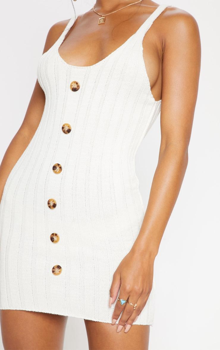 Cream Button Through Knitted Rib Dress 5